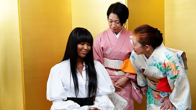 Naomi Campbell pictured at the Consul-GeneralÕs Residence in Rose Bay attending a 'ChadoÕ tea ceremony in honour of a donation of AUD$343,000 from Ms CampbellÕs charity, Fashion For Relief, to the Japanese Red Cross.
